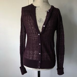 Ann Taylor Crochet Knit Cardigan Mohair Purple